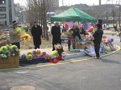 flower sellers on campus