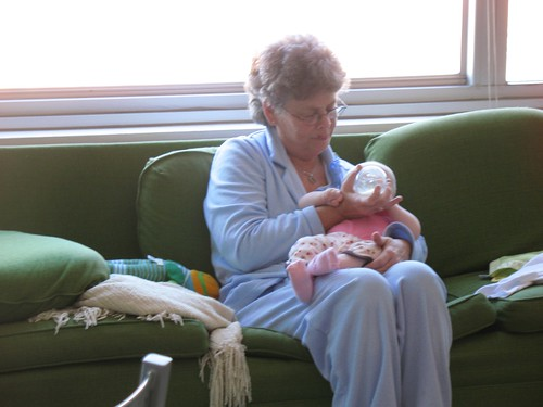 Grandma Sandy feeds Fay