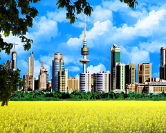 Kuwait Fantasy (Imran Khan - Always Pakistan First) Tags: trees pakistan nature beauty clouds buildings silhouettes bluesky fantasy greenery kuwait liberationtower sialkot yellowfields imrankhan kuwaittower luckykhan zeeimran420 jugnoo aplusphoto top20travel