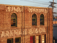 warehouse, downtown Los Angeles (jericl cat) Tags: blue red sky brick losangeles downtown warehouse mateo oils paints varnishes