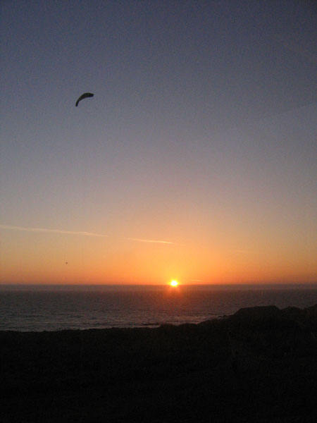 sea ranch kite-flying by sunset