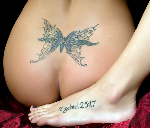 Triball Back Body  Butterfly Tattoo And Foot Tattoo Latering