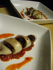 Grilled Morcilla Stuffed Squid with a Spicy Sauce