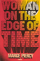 Woman on the Edge of Time book cover: red and yellow book with illustrated letters made of brick