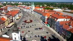 Hradec Králové (radimersky) Tags: old city roof red panorama white building tower lens landscape miniature europa europe republic czech fake shift historic pancake maker tilt dach bohemia střecha tenement widok republika miasto tiltshift mesto hradec ceska bílá biała czechy 14mm gf1 dachy králové wieża krajobraz kralove věž střechy königgrätz