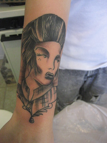 black and white gangster tattoo Film Noir Inspired