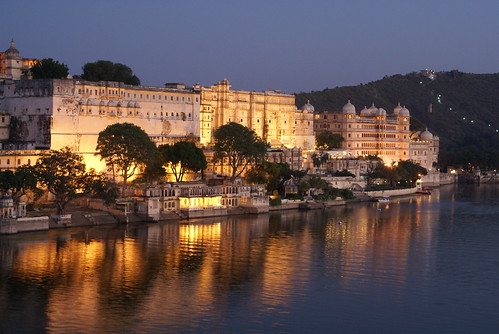 palace udaipur india at sunset
