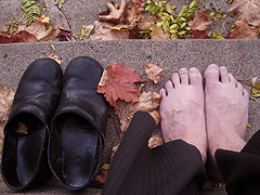 Day (21) (Snotfist) Tags: fall feet leaves steps clogs 365 veiny flatfooted pinstrips danksos