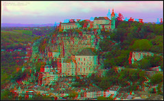 Rocamadour, France in 3D (kiwizone) Tags: france beautiful religious stereoscopic 3d village anaglyph medieval christian stereo badge historical rocamadour monastry fairystory kiwizone nzphoto johnwattie
