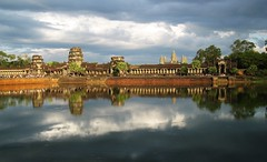 Seeing Double (Jessica Tai [[AnywhereButHome21]]) Tags: trees sky lake reflection history nature water clouds river asia cambodia culture angkorwat temples angkor