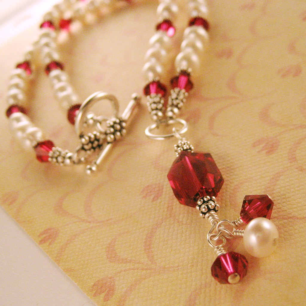 SOLD - Your Kiss is Better than Ruby Cherries Necklace