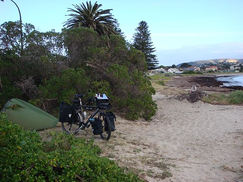 Wild camping at the beach in downtown Victor Harbor...