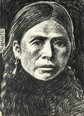 Native American portrait (superpralinix) Tags: portrait woman donna native femme dessin american draw crayon ritratto disegno carboncino