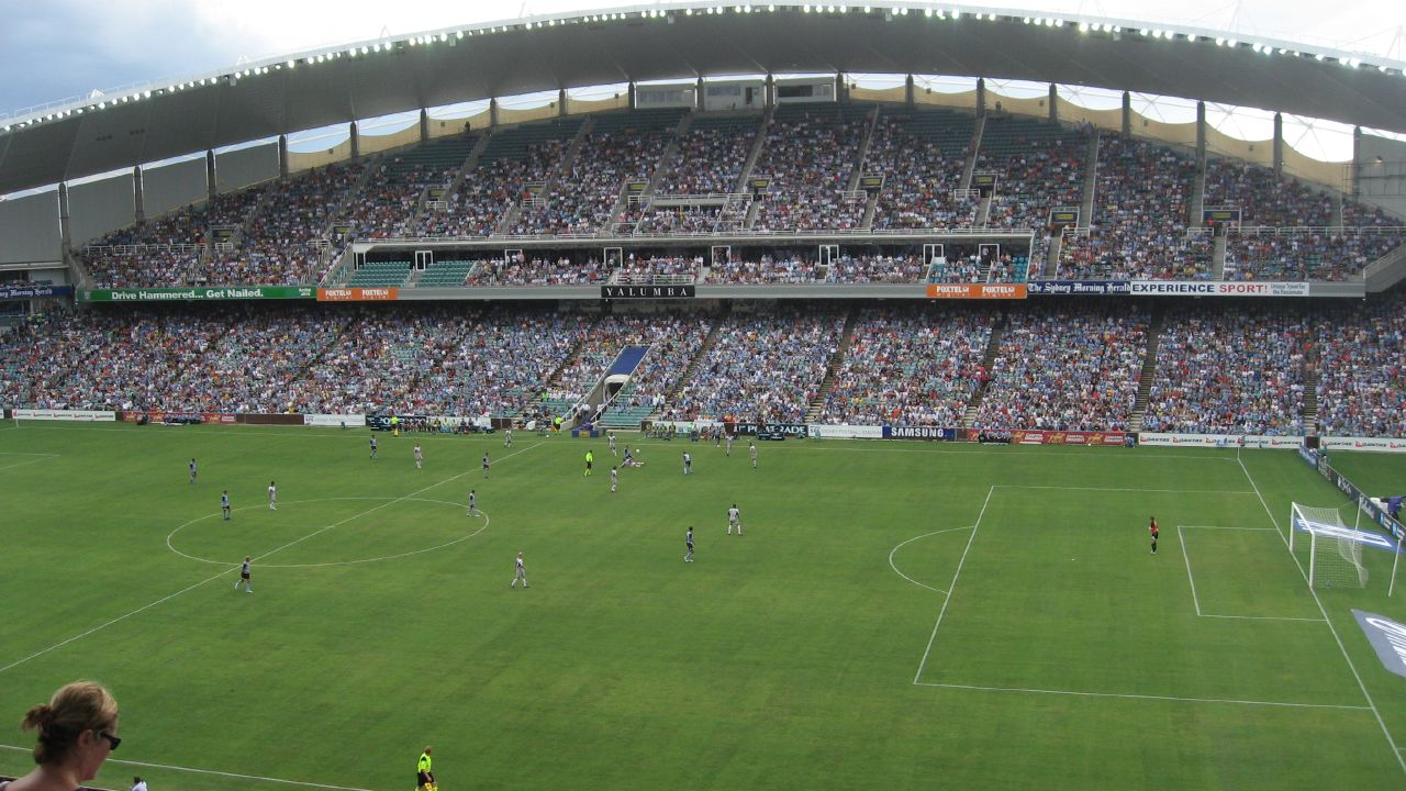 Sydney FC vs. Melbourne Victory at Telstra Stadium in Sydney.
