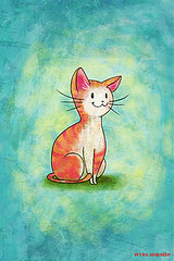 iPhone/iPod touch Wallpaper #011 (ATELIER302) Tags: wallpaper orange cat sweet lovely illust skyblue iphone ipodtouch iphonewallpaper