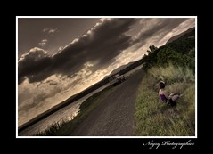 Waiting.on.a.Setting.Sun (noyzy) Tags: road sunset water landscape photographer landcruiser farnborough desaturate yeppoon dirtpath thewetlands canoneos40d