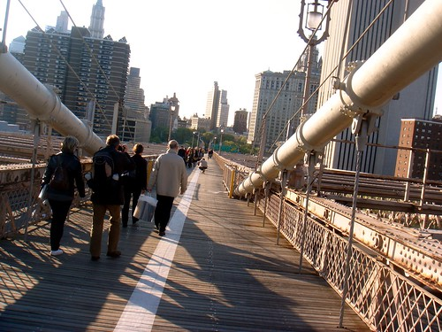 Skateboarding across the Brooklyn Bridge