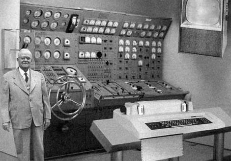 old computer, giant computer, steering wheel