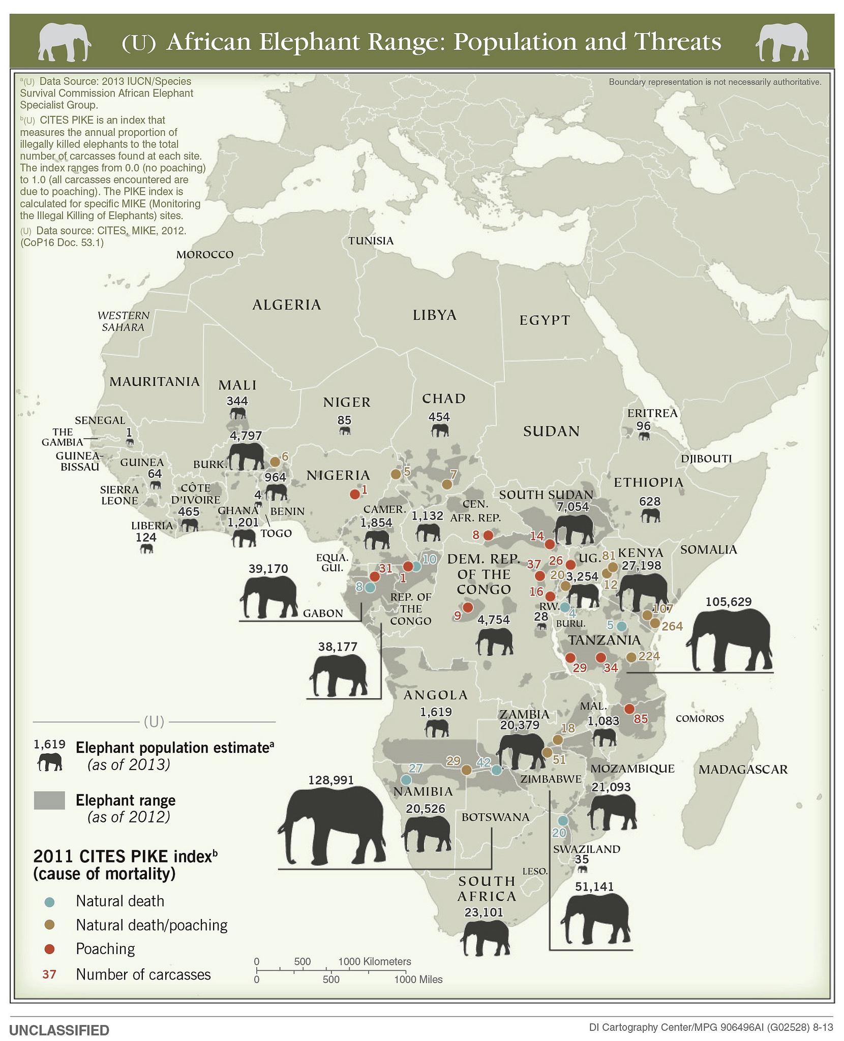 Популяция слонов в Африке (2012)