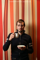 Coffee dude (Konstantin Sutyagin) Tags: red portrait people man hot guy cup coffee smile smiling vertical modern studio beard person one design photo cafe cool 60s eyecontact pattern tea drink designer expression contemporary background stripes beverage drinking handsome lifestyle style symmetry retro dude indoors casual copyspace striped sporty stylish designers frontview 20s caucasian facialexpression