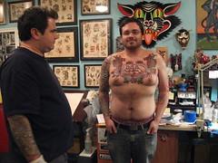 Jason Brooks finished tattooing Josh! (HeadOvMetal) Tags: shop tattoo ink austin studio ouch bottle pain december ship texas skin josh bodymod bodyart 2007 rune atx bme greatwave jasonbrooks rockofages