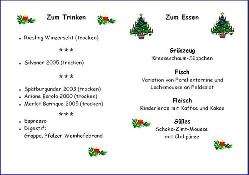 Weihnachtsmenü 2007