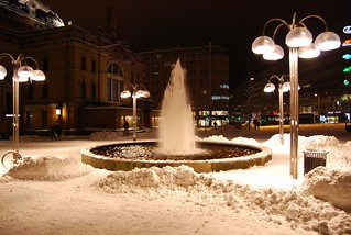 Oslo, winter fountain