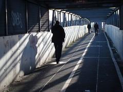 a sunnier disposition (helen.2006) Tags: bridge sunlight shadows footbridge solitary girders neasden northcircularroad