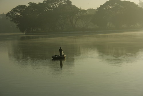 Fisherman at Ulsoor lake