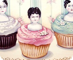 """cupcake girls"" close up (our first painting of 2008) (holiday_jenny) Tags: pink flowers wallpaper art cake vintage shopping painting dessert aqua dolls antique chocolate bisque cupcake bakery heads porcelain frosting shabbychic everydayisaholiday jennyheid aaronnieradka"
