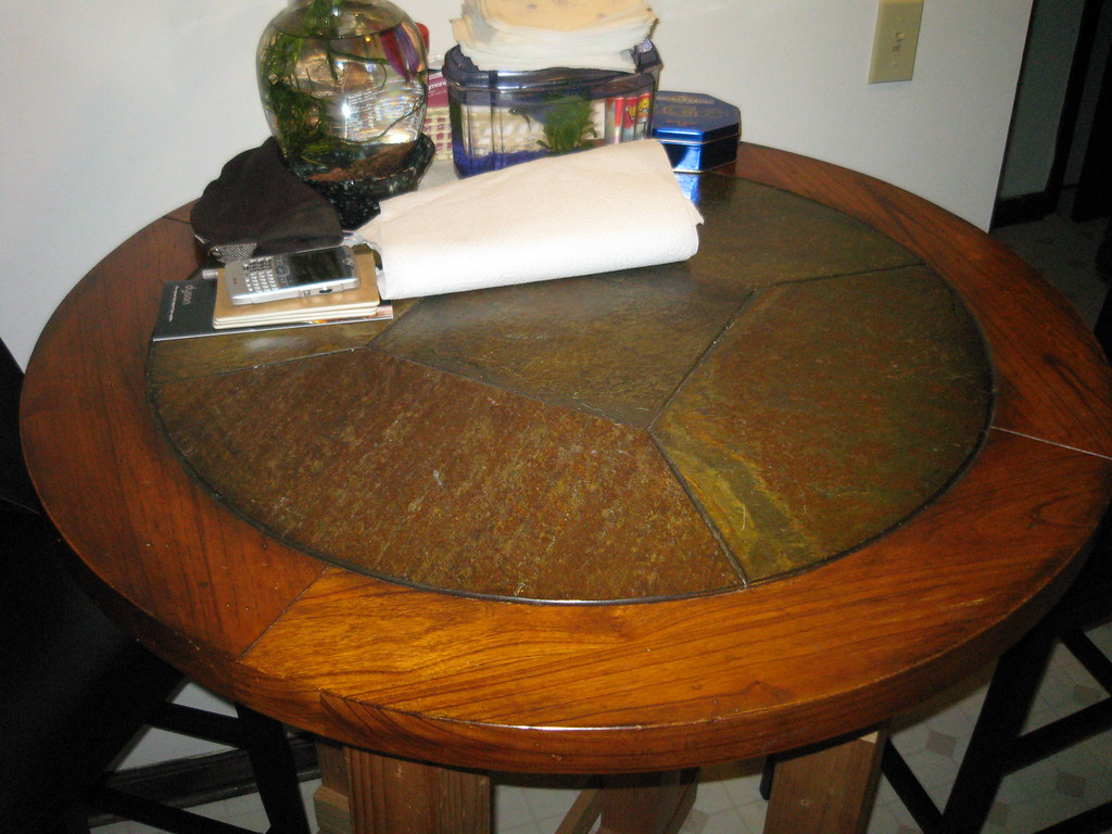 Stone & Wood Round Bar Table - FOR SALE