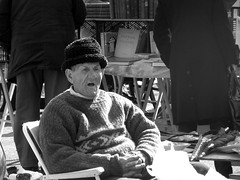 Yawn! (Annie in Beziers) Tags: old bw man france monochrome hat sunshine character bored jumper antiques brocante bless carbootsale bricabrac homme yawning wrinkly bookstall agape bziers videgrenier lesud anawesomeshot hommageadoisneau annieinbziers lesallespaulriquet