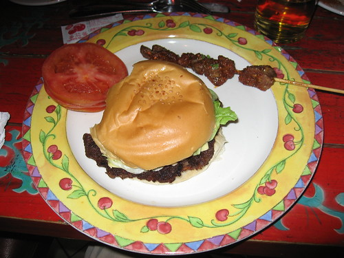 Cheeseburger w/side of BBQ'd chicken gizzards