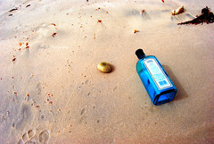 Beach And Booze (Shakir's Photography) Tags: ocean blue sea summer sun beach water drunk trash photography photo bottle nice sand weed warm pretty day image time drink shell dry sunny alcohol bombay booze relaxed gin   shanko              flickrsbest   golddragon