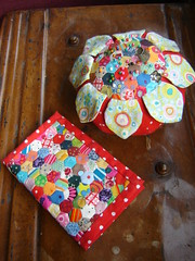 matching hand sewn, tiny patchwork needlebook and pin cushion (duniris) Tags: handmade pincushion needlebook kaffefassett annamariahorner