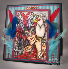 Tropical Masquerade (ajsdesignartz) Tags: deliciousdoodles tropical masquerade mardigras card greetingcard artcard feathers copics