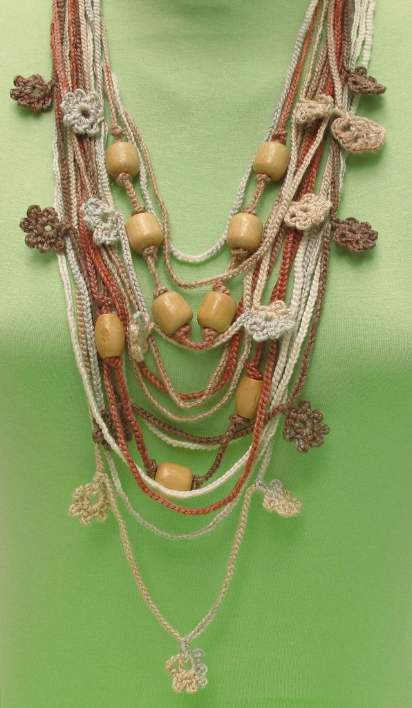 crochet bamboo thread necklace-brown tones