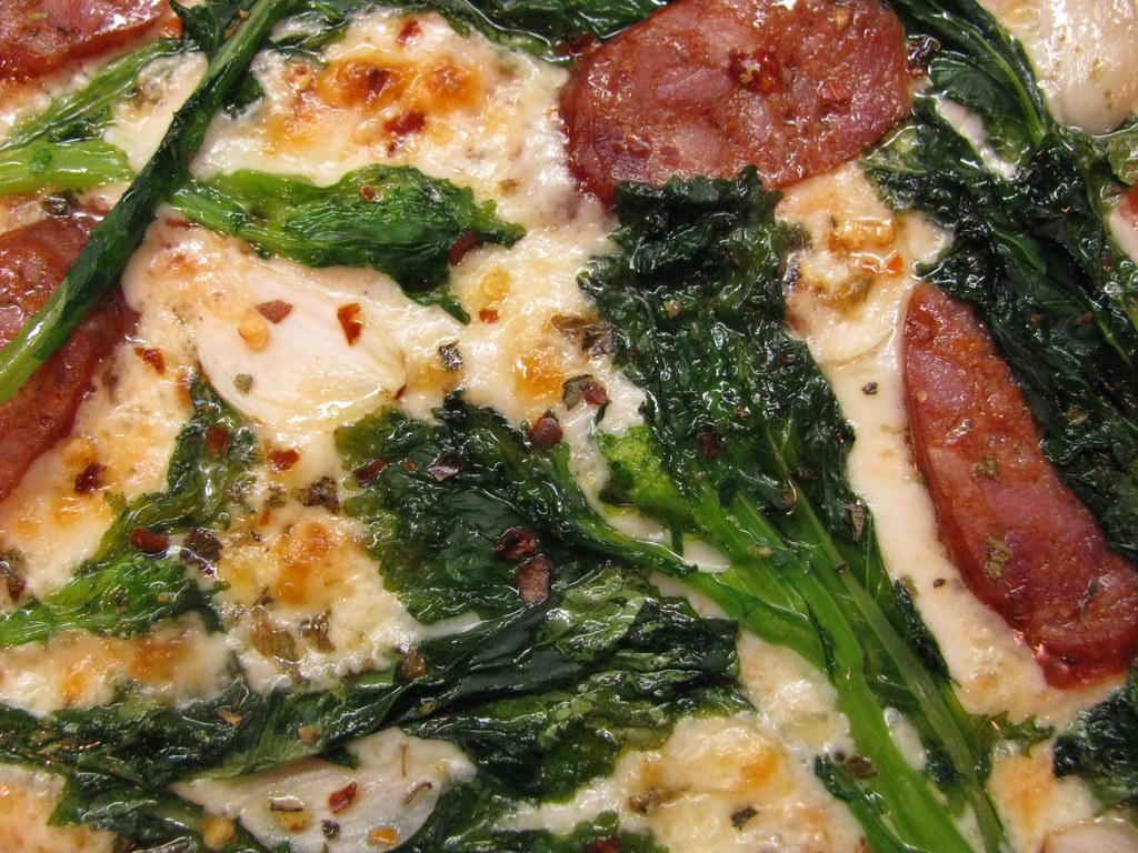 pizza: rapini & andouille sausage