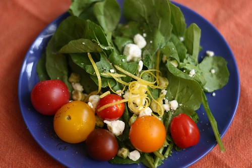 New Jersey Arugula Salad with Mixed Cherry Tomatoes, Feta, and Lemon Zest