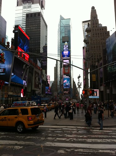 Walking over Times Square to our next meeting