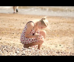 Collecting happy memories (JK x) Tags: woman shells beach lady happy sussex candid memories pebbles collecting littlehampton