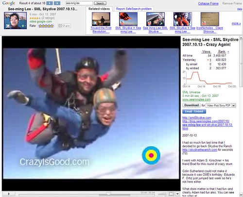 SML Flickr: See-ming Lee - SML Skydive 2007.10.13 / Google Video