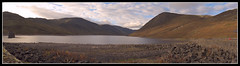 Loch Turret panorama (spodzone) Tags: sky panorama sunlight mountain reflection water landscape scotland hill perthshire surface glenturret lochturret patternoflight choinneachain