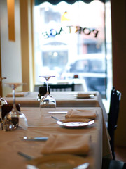 Tables and Place Settings. (Jackie Donnelly | Seattle Photographer) Tags: window table restaurant glasses dining placesetting ambience eatery seattlerestaurant portagerestaurant
