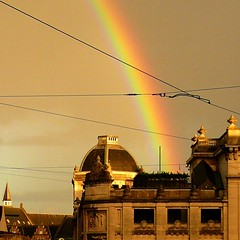 Rainbow (Amaury Henderick) Tags: regenboog rainbow belgium belgique belgi ghent gent gand arcenciel banquenationale bovenleidingen nationalebank tramkabels