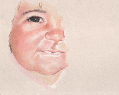 In progress scan of colored pencil portrait entitled Clara at 18 Months