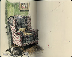 Calling on you this week (Wil Freeborn) Tags: moleskine sketch chair interior sketchbook daily watercolour moleskin tynron