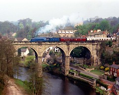 4468 Mallard Knaresborough Viaduct Apr 25 1987 (prof@worthvalley) Tags: uk railroad all transport railway steam locomotive mallard types