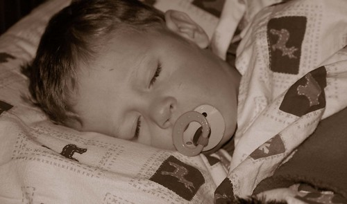 Garrett sleeping - sepia, cropped