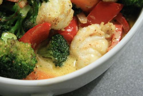 Lotte & légumes au wok - Sabayon au curry
